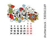april. 2017. calendar. isolated ... | Shutterstock .eps vector #530361169