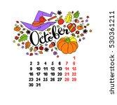 october. 2017. calendar.... | Shutterstock .eps vector #530361211