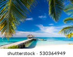 maldives beach with beautiful... | Shutterstock . vector #530364949