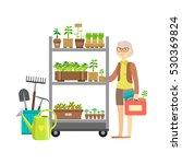woman shopping for garden... | Shutterstock .eps vector #530369824