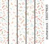retro memphis geometric line... | Shutterstock .eps vector #530379835