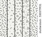 retro memphis geometric line... | Shutterstock .eps vector #530379931