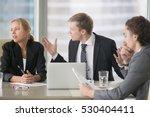 furious boss scolding young... | Shutterstock . vector #530404411