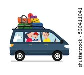 driver with car and family | Shutterstock .eps vector #530411041