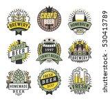 vector line art badge. craft... | Shutterstock .eps vector #530413789
