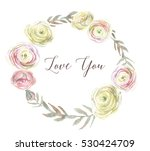hand drawn cute wreath with... | Shutterstock . vector #530424709