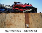 Wrecked Cars In A Junkyard
