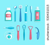 dental cleaning tools. vector... | Shutterstock .eps vector #530431015