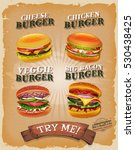 grunge and vintage burger menu  ... | Shutterstock .eps vector #530438425