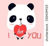 little panda '' i love you''..t ... | Shutterstock .eps vector #530439925