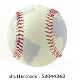world map on a baseball on...   Shutterstock . vector #53044363