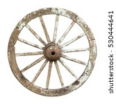 Old Wooden Wheel Isolated On...