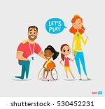 sports family. handicapped girl ... | Shutterstock .eps vector #530452231
