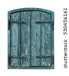An Old Green Wooden Window Wit...