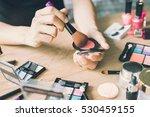 girl doing makeup on dressing... | Shutterstock . vector #530459155