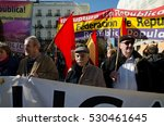 Small photo of MADRID, SPAIN - 6 December 2016: Julian Rebollo (C), spokesperson of the Associations of the Historical Memory and the Victims of Francoism, at the demonstration claiming for the 3rd Spanish Republic.