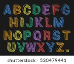 colored chalk font on black... | Shutterstock .eps vector #530479441