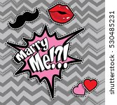 pop art fashion chic patches ... | Shutterstock .eps vector #530485231