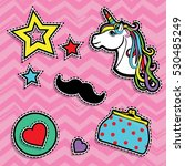pop art fashion chic patches ... | Shutterstock .eps vector #530485249