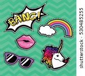 pop art fashion chic patches ... | Shutterstock .eps vector #530485255