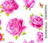 rose budget pattern watercolor | Shutterstock . vector #530485591