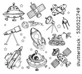 space hand drawn set | Shutterstock .eps vector #530522749