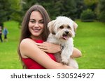girl with puppy. portrait of... | Shutterstock . vector #530524927