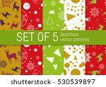 set of 5 christmas and new year ... | Shutterstock .eps vector #530539897
