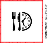Fork Knife Clock Icon Vector...