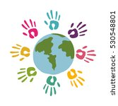 colored hands around of world | Shutterstock .eps vector #530548801