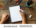 little girl hand drawing  blank ... | Shutterstock . vector #530554231