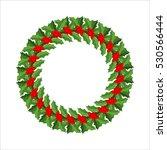 mistletoe wreath isolated.... | Shutterstock .eps vector #530566444