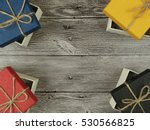 present box on wood background | Shutterstock . vector #530566825