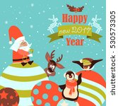 funny penguins with santa claus ... | Shutterstock .eps vector #530573305