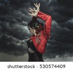 spanish flamenco dancer with... | Shutterstock . vector #530574409