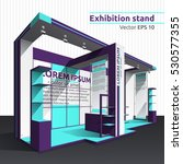 exhibition stand in purple and... | Shutterstock .eps vector #530577355