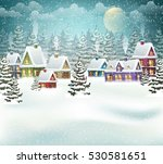 village winter landscape with... | Shutterstock .eps vector #530581651