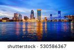 Jacksonville, Florida city skyline over the St. John