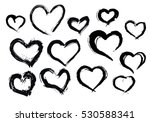 Black heart painted hand made tracing from sketch Vector Illustration