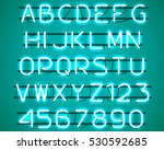 glowing blue neon alphabet with ... | Shutterstock .eps vector #530592685