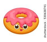 donut in flat cartoon style.... | Shutterstock .eps vector #530638741