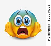 scared emoticon holding head ... | Shutterstock .eps vector #530644381
