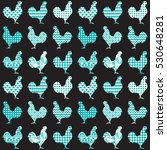 rooster silhouette seamless... | Shutterstock .eps vector #530648281