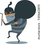 robber in mask with huge sack... | Shutterstock .eps vector #530662855