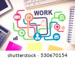 business workplace with devices ... | Shutterstock . vector #530670154