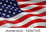 american flag blowing in the... | Shutterstock . vector #53067145