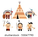 set of cartoon indians | Shutterstock .eps vector #53067790