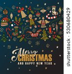 hand sketched merry christmas... | Shutterstock .eps vector #530680429