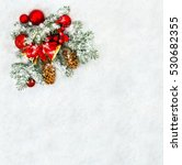 christmas decoration. branch... | Shutterstock . vector #530682355