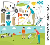 golf icons vector and player | Shutterstock .eps vector #530687659